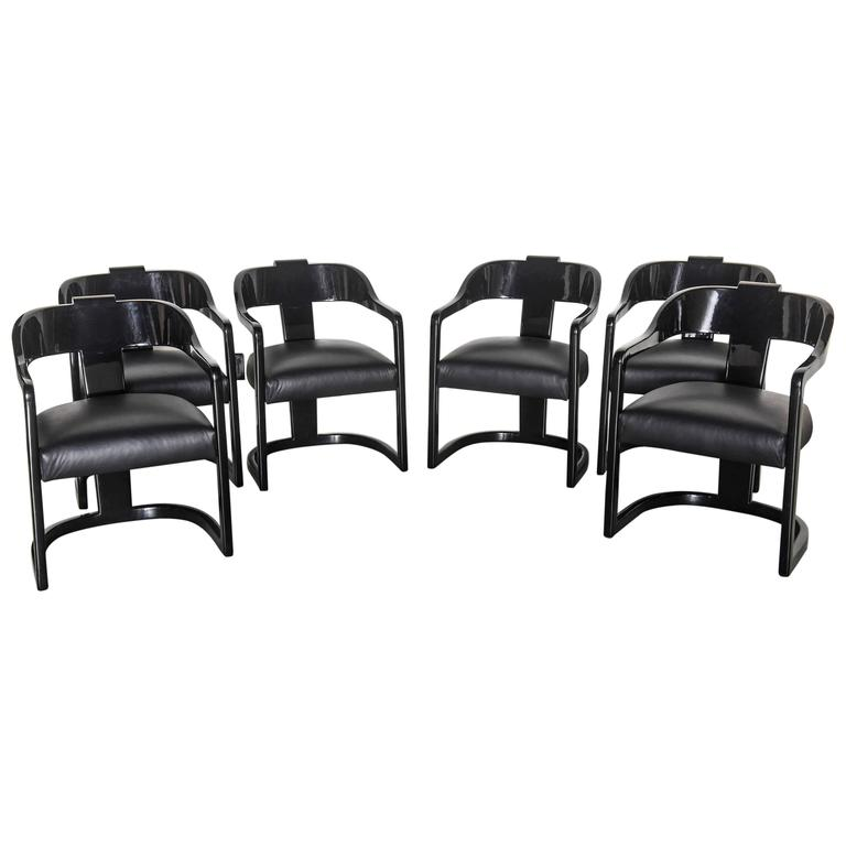 "Set of Six American Modern Black Lacquer ""Ari"" Chairs, Style of Karl Springer"