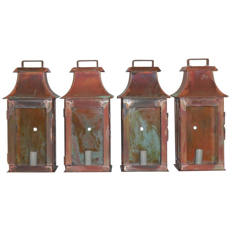 Wall Copper Lantern : Four Wall Copper Lantern at 1stdibs