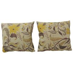 Pair of Vintage French Printed Linen Floral Pillows