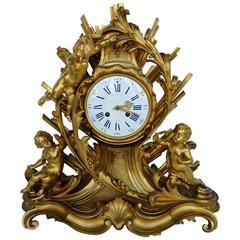 Large French 19th Century Ormolu Mantel Clock by Raingo Frères