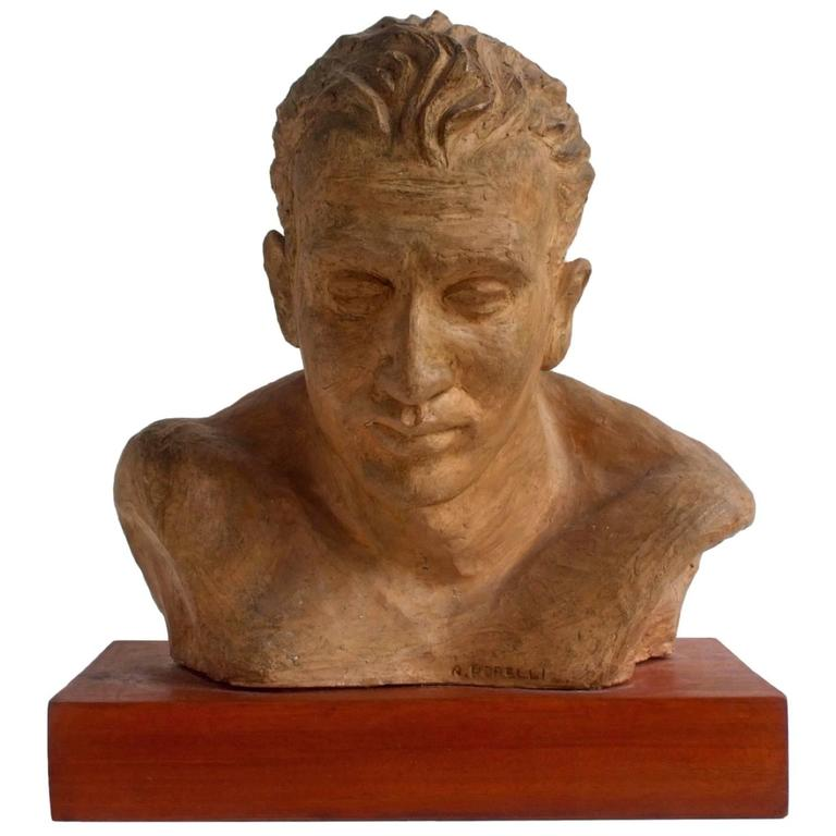 A. Pirelli, Athlete's Clay Bust Sculpture, 1950s, Signed 1