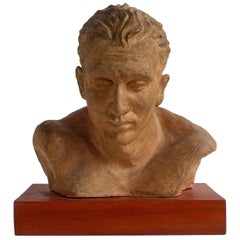 A. Pirelli, Athlete's Clay Bust Sculpture, 1950s, Signed