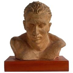 Athlete's Clay Sculpture on a Wood Base of Signed by A. Perelli, circa 1950s