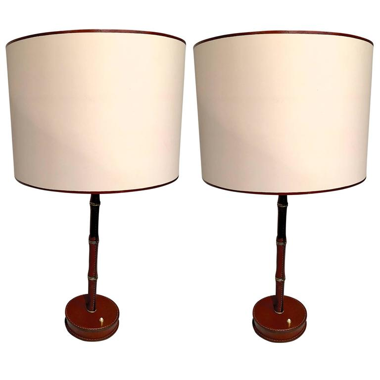 Jacques Adnet Hand Stitched Leather Pair Of Lamps In Red Herm S Color At 1stdibs