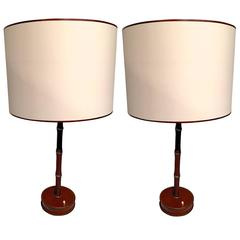 Jacques Adnet Hand-Stitched Leather Pair of Lamps in Red Hermès Color