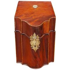 English Georgian Mahogany Inlaid Single Knife Box, Circa 1770