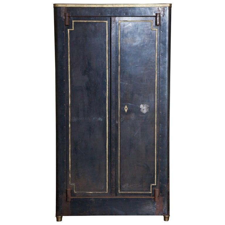 Blackened Metal Armoire with Bronze Accents For Sale