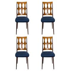 Set of Four Lucite and Chrome Chairs