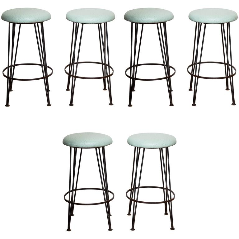 Set Of Six Wrought Iron Bar Stools With Mint Green Ostrich Leather Tops For  Sale