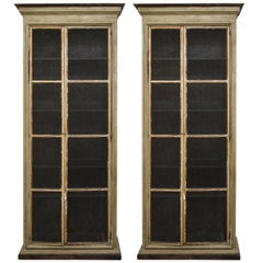 Pair of Painted Bookcases with Inset Metal Grilles