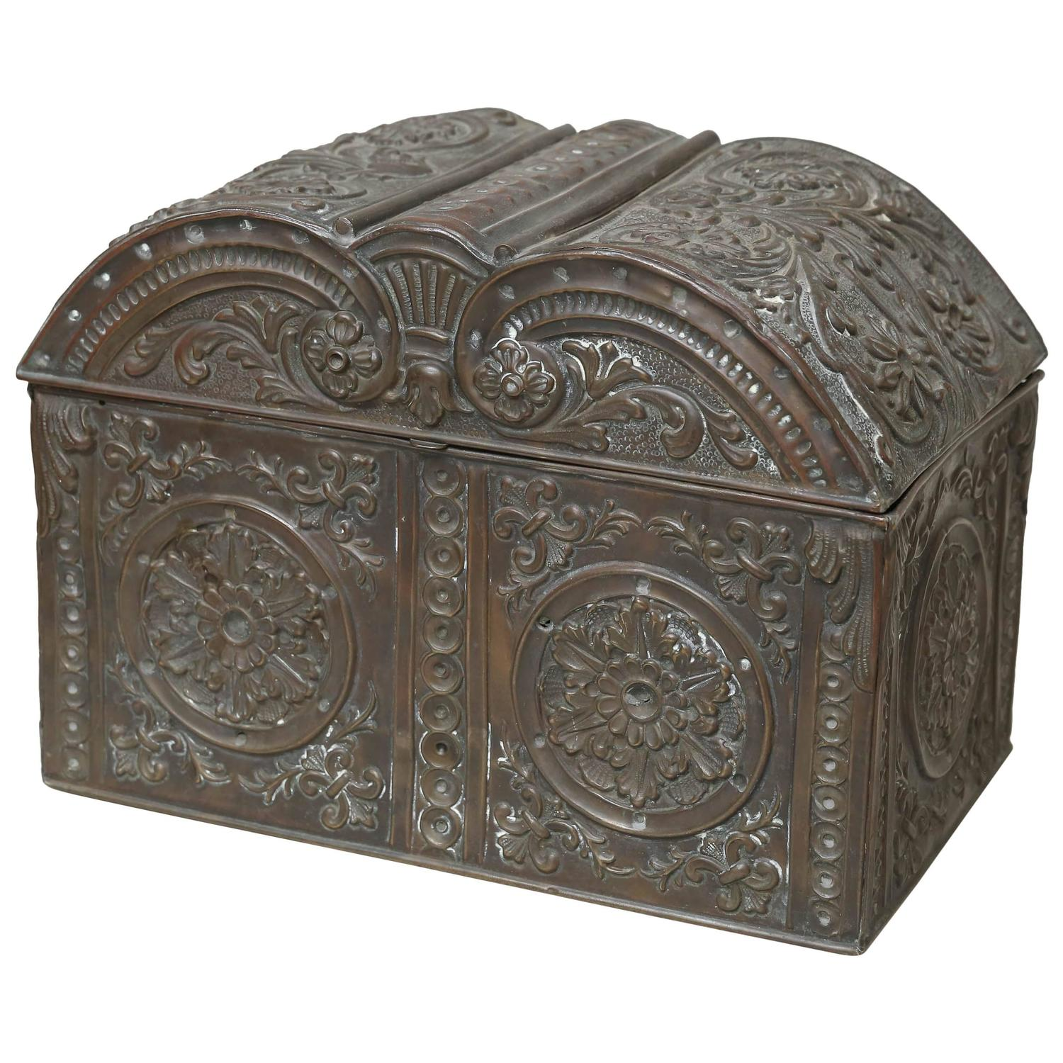 19th Century French Embossed Metal Box At 1stdibs