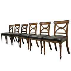Six Custom English Regency Carved Solid Mahogany Library or Dining Side Chairs