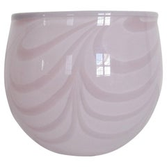 Swedish Pink Art Glass Bowl by Designer Anna Ehrner