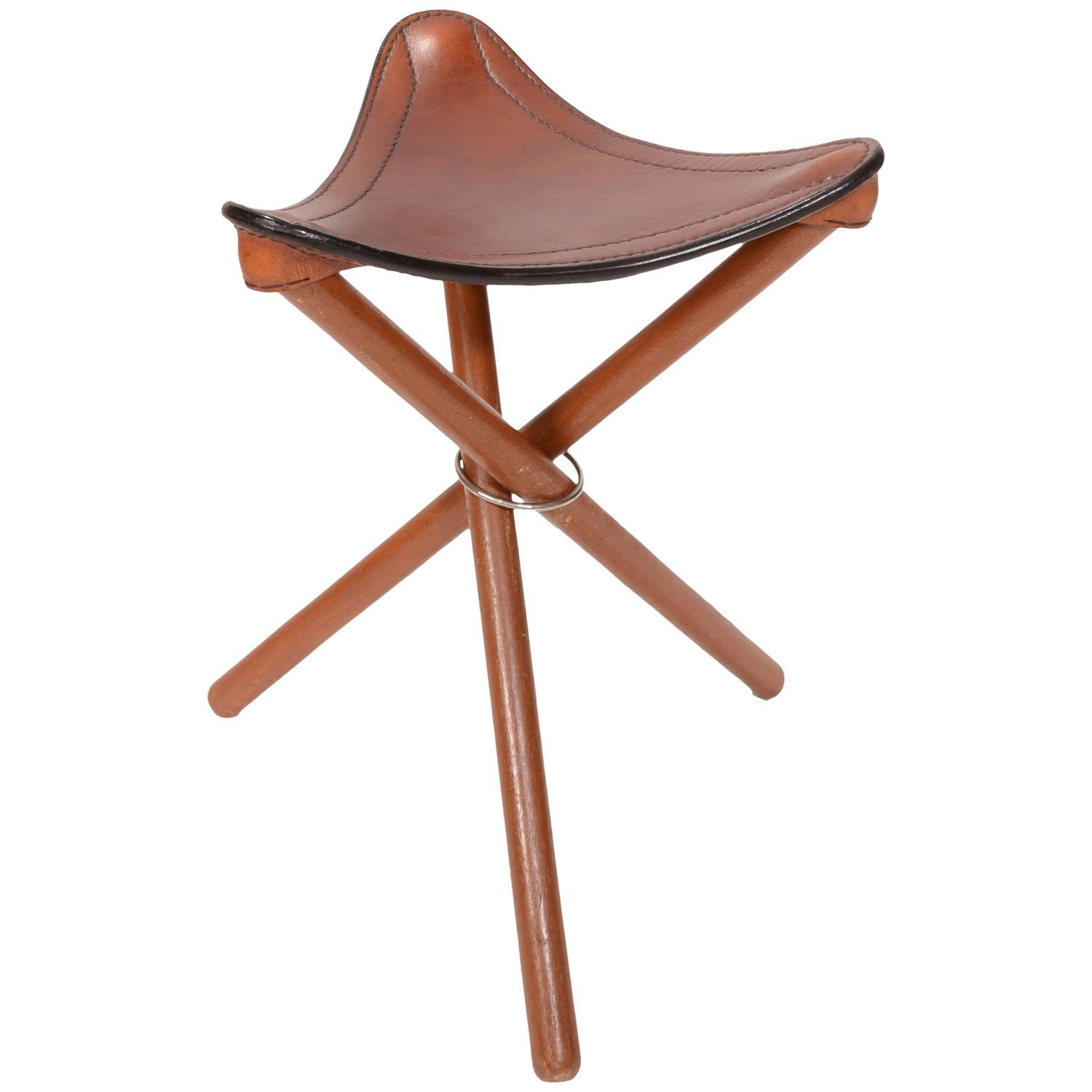 Danish Teak And Leather Folding Tripod Safari Stool For