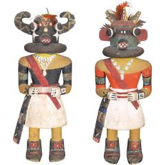 Rare Pair of Kachina Dolls by the Same Maker, Hopi 'Pueblo Indian'