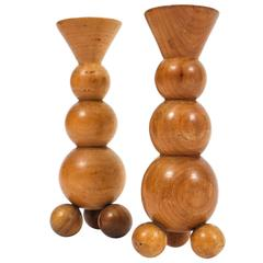 Pair of Art Deco Candlesticks Made from Wood
