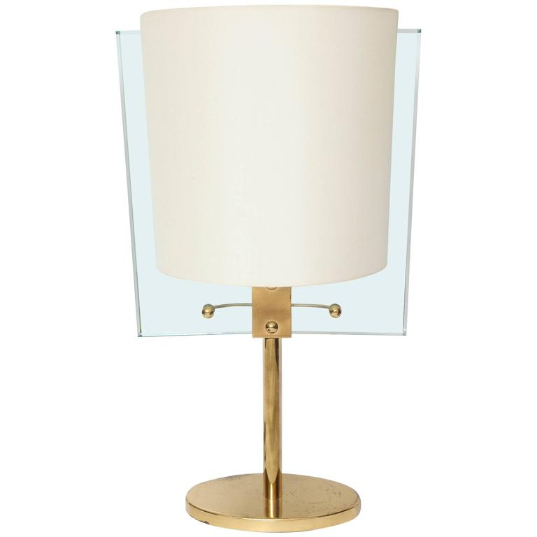 Italian Glass and Brass Table Lamp by Fontana Arte For Sale