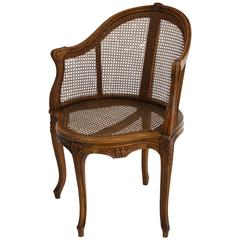 French Louis XV Style Caned Desk Chair