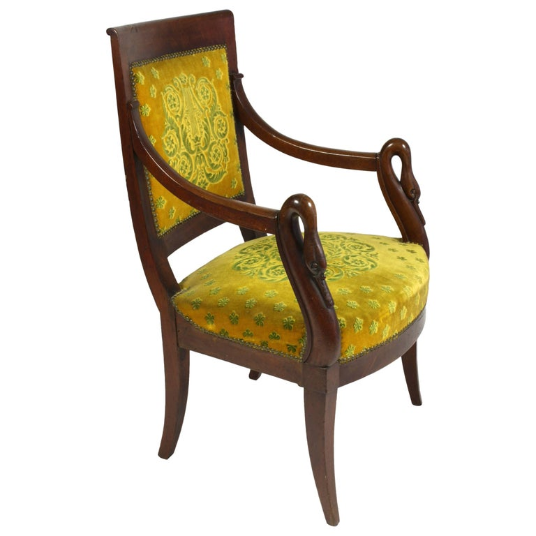 French Empire Period Mahogany Armchair with Swans' Heads For Sale
