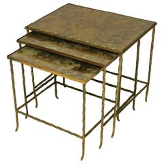 Set of Three French Gilt-Bronze Nesting Tables by Maison Bagues