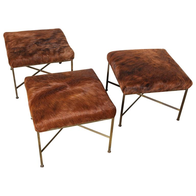 18a7bd318f37 Set of Three Paul McCobb for Directional Model 1306 Brass Ottomans ...
