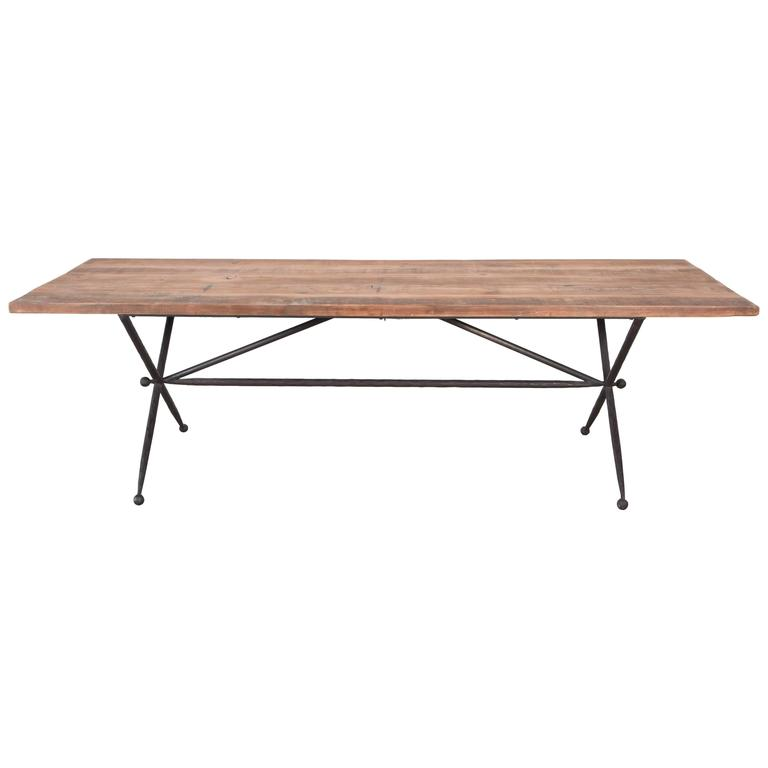 Long Iron X Base Jacks Dining Table With Reclaimed Wood