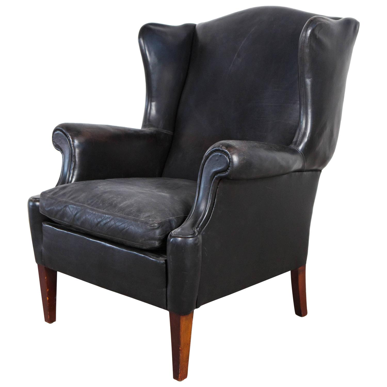 Black Leather Curved Arm Wing Back Club Chair at 1stdibs