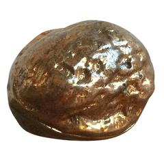 Signed Petite Bronze Miniature Wallnut Shaped Paperweight, France, 1970s