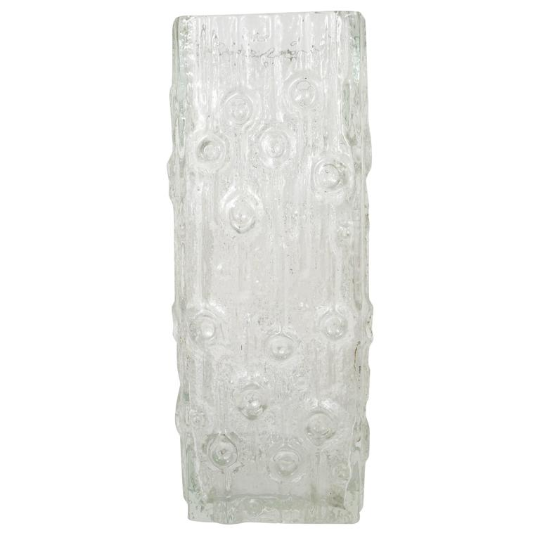 Big Modernist Ice Glass Vase by Peill & Putzler, Germany, 1970s