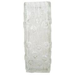 Big Modernist Ice Glass Vase by Peill & Putzler, Germany, 1970s