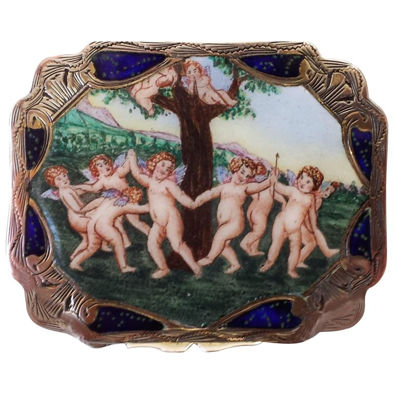 Silver Enamel Box Scrolled with Gilt Interior and Mirror on the Inside Cover