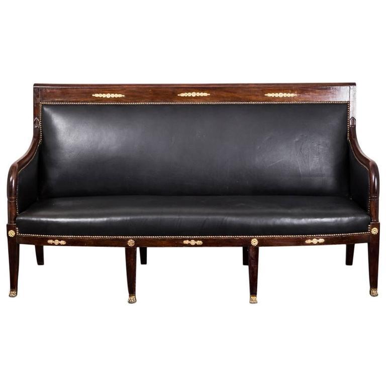 Sofa Bench French Empire Period 1790-1810 Mahogany Black Leather France