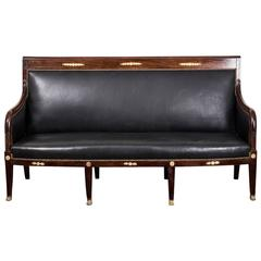 Sofa Bench French Empire Period 1790-1810 Mahogany Black Leather France