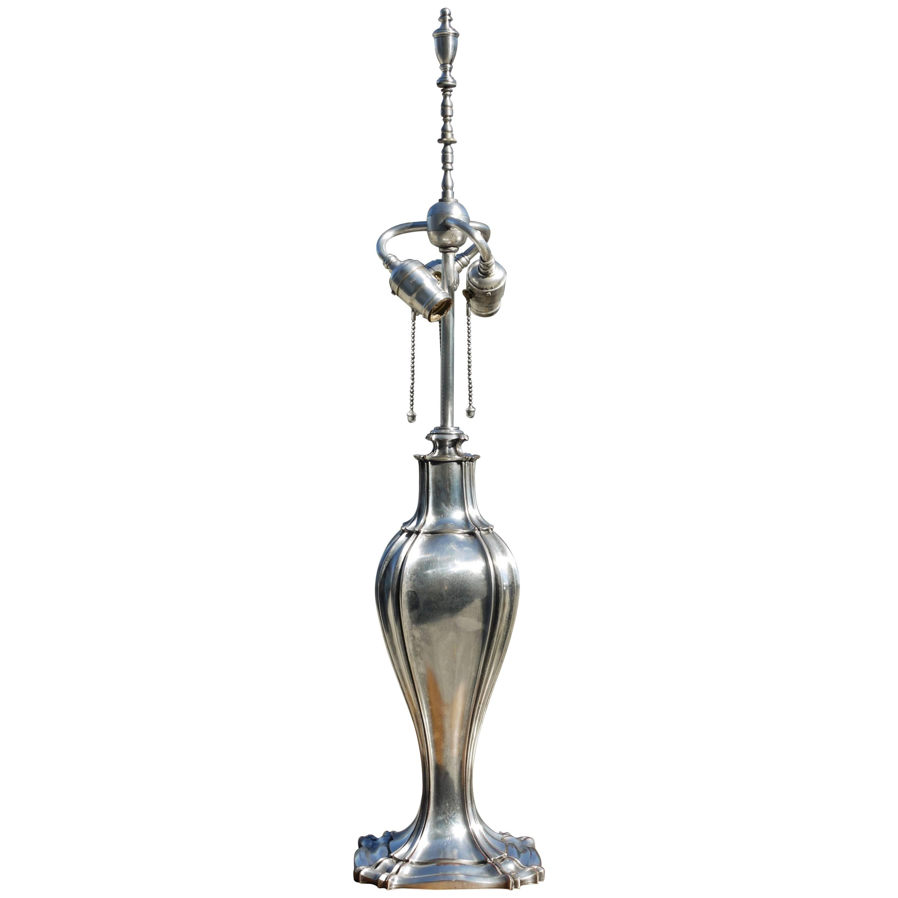 Silvered Bronze Lamp Attributed to E.F. Caldwell