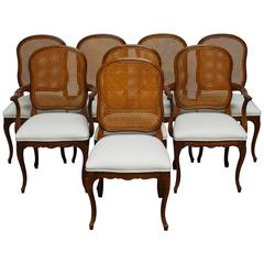 Set of Eight French Louis XV Style Cane Dining Chairs