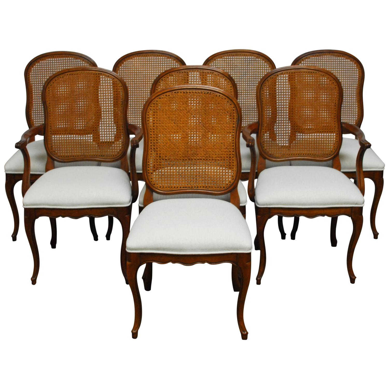 Set of Eight French Louis XV Style Cane Dining Chairs For Sale at