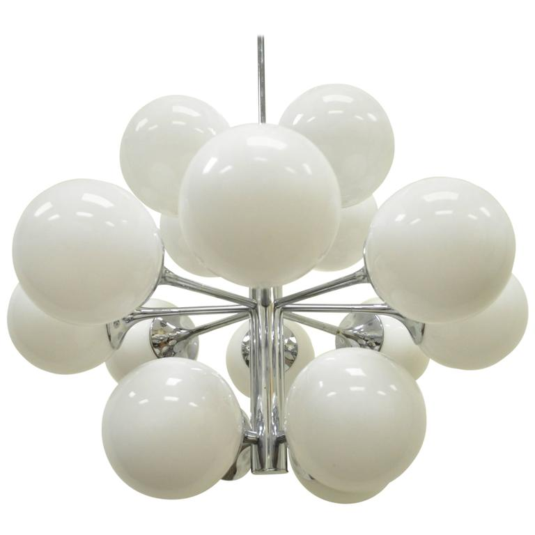 Mid-Century Modern Lightolier Atomic Chrome and Glass Sputnik Style Chandelier