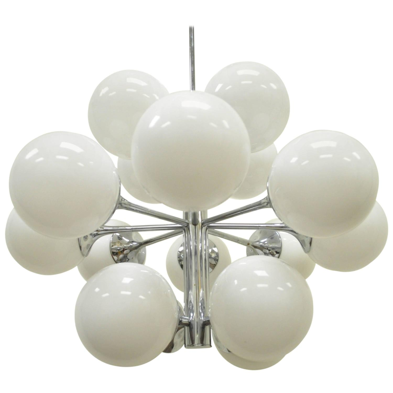 Twelve Light Sputnik Satellite Chandelier Pendant Chrome Glass by