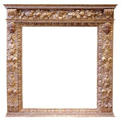Italian 17th Century Carved, Polychrome and Giltwood Mirror