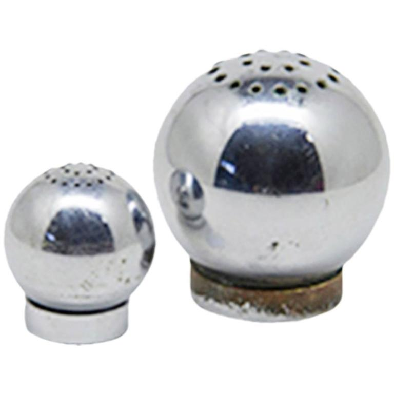 Russel Wright for Chase Brass and Copper Co. Salt and Pepper Shakers, circa 1935 For Sale