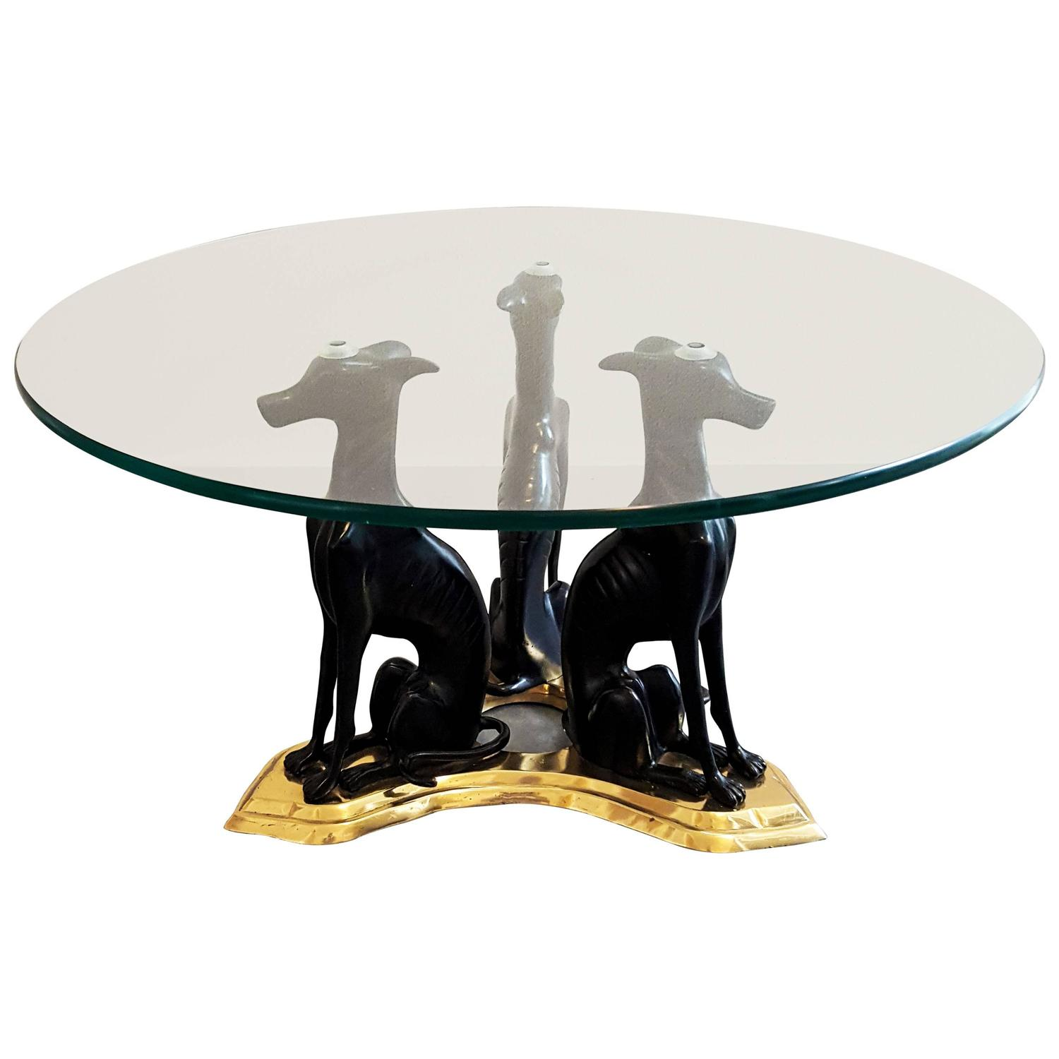 Maitland Smith Cast Bronze and Brass Whippet Cocktail Table at 1stdibs