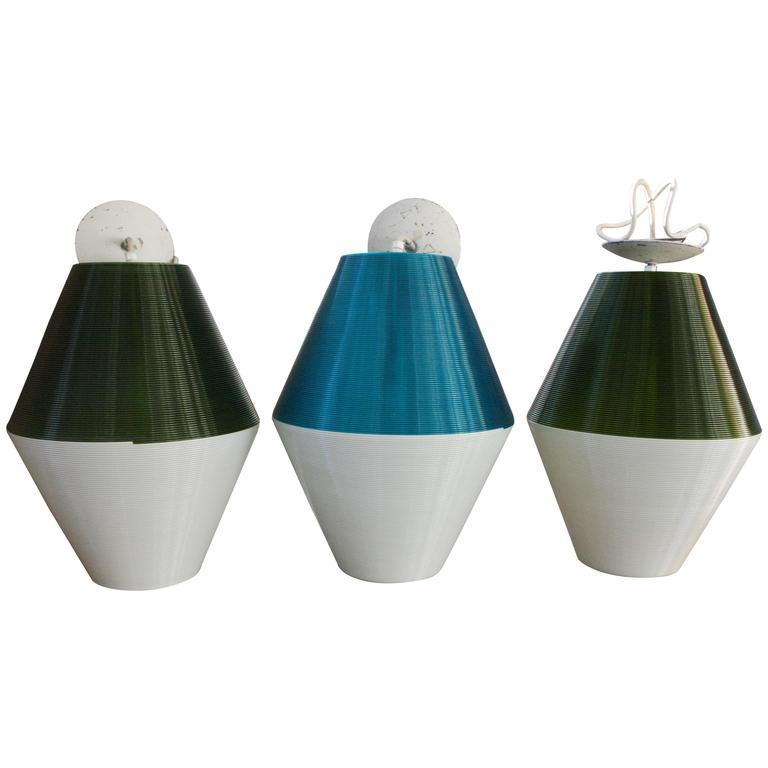 Set Of Three Large Pendant Lights By Rotaflex For Heifetz