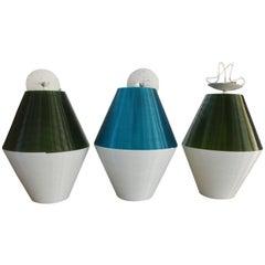 Set of three Large Pendant Lights by Rotaflex for Heifetz, 1950s