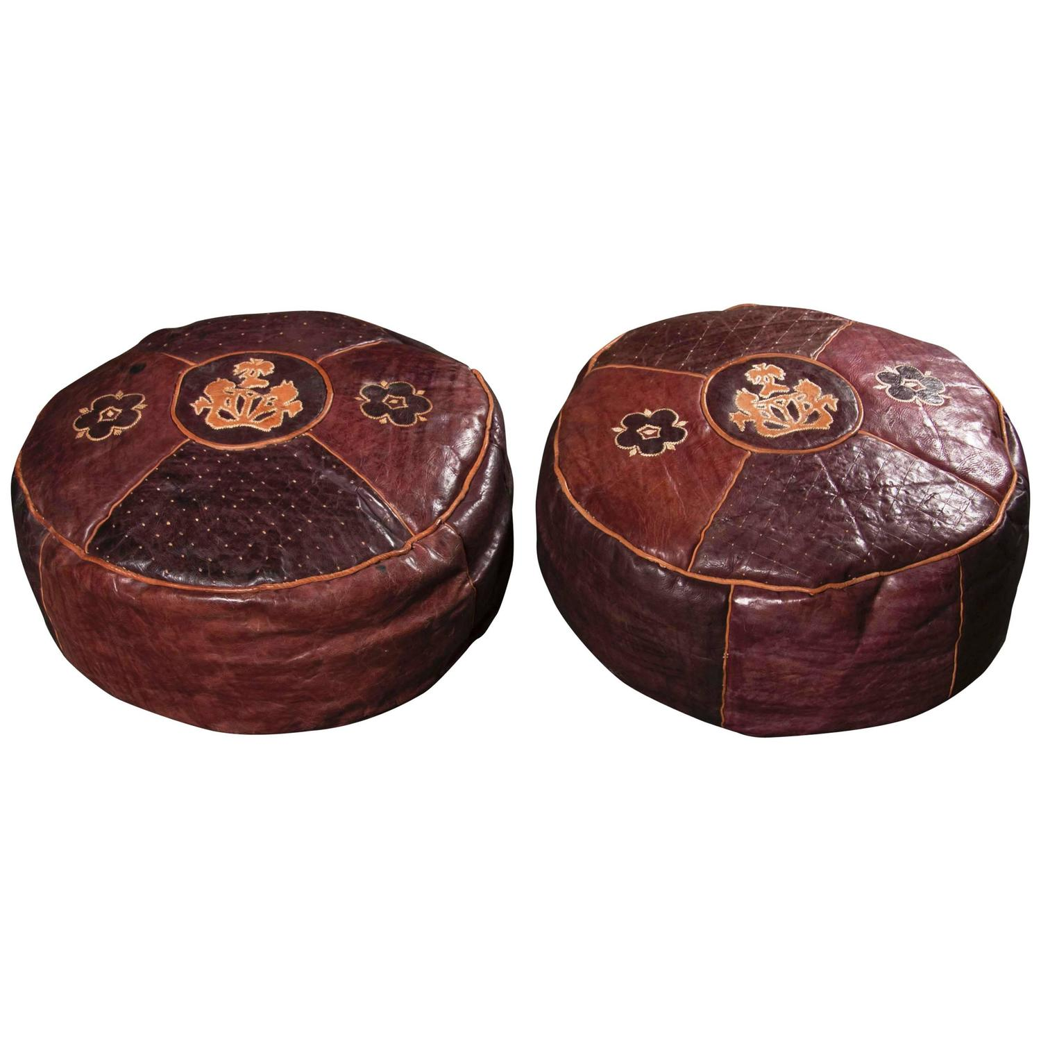 Pair Of Leather Floor Cushions At 1stdibs