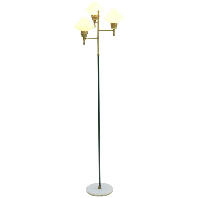 Italian Floor Lamp, Brass, Glass and Marble 1960s