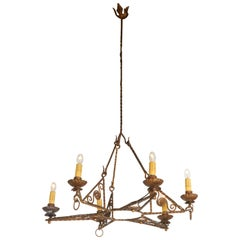 Italian 1920s Art Deco Gilt Iron Chandelier