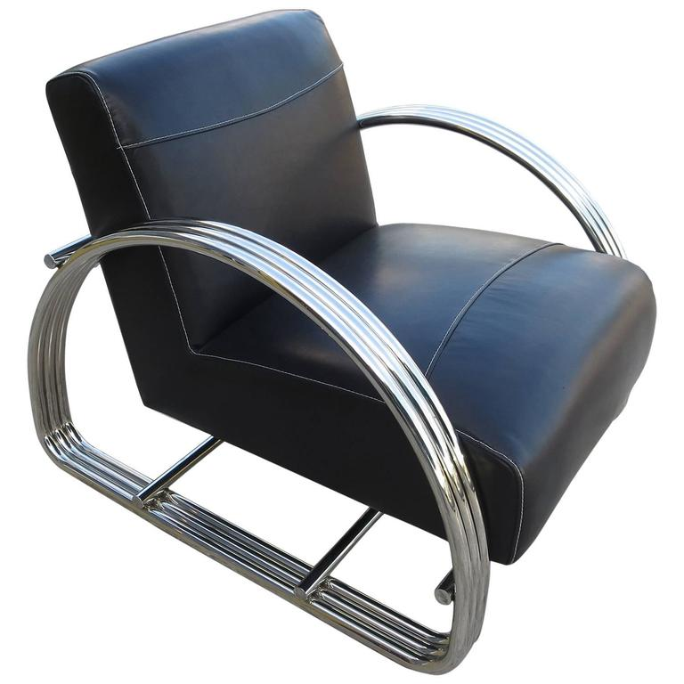 Ralph Lauren Hudson Street Lounge Chair In New Black Leather For Sale