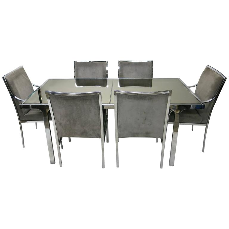 Dining table and 6 chairs signed pierre cardin made in for 1970 dining room set