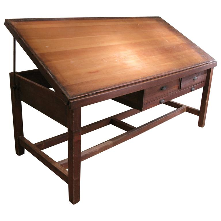 Large Tilt Top Adjule Drafting Desk For