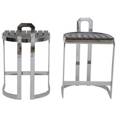 Pair of Postmodern Chrome and Grey Counter Height Barstools
